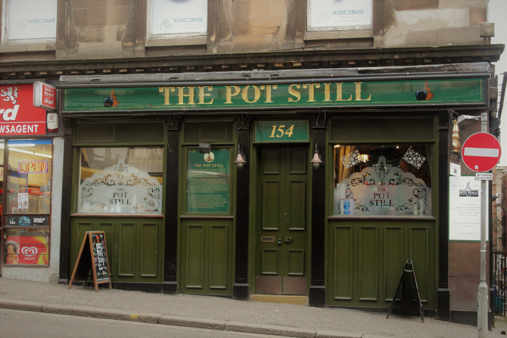 Exterior photo of The Pot Still from Hope Street, Glasgow